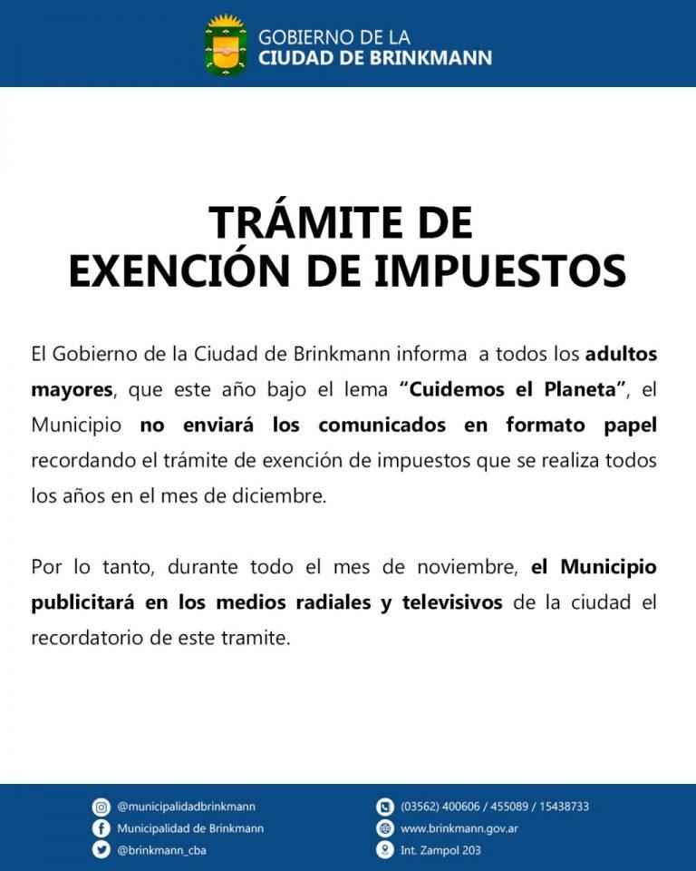 Exención de impuestos: No enviarán comunicados en formato papel