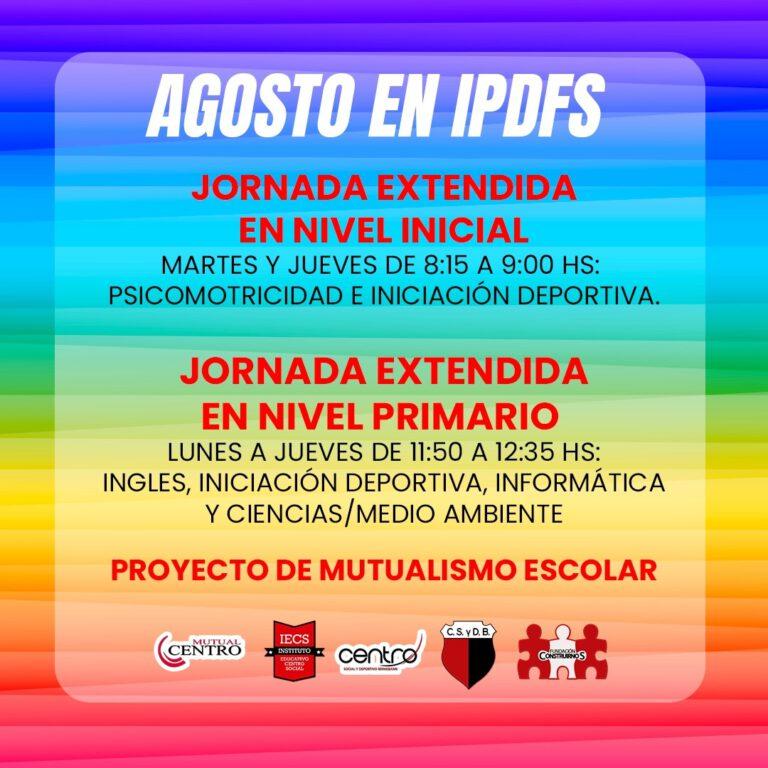 Instituto Educativo Centro Social propone jornada extendida en nivel inicial y primario