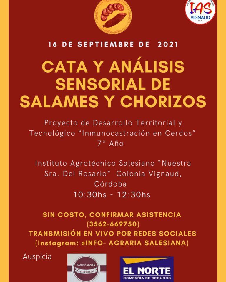 Jueves 16 en el IAS: Organizan cata y análisis de salames y chorizos