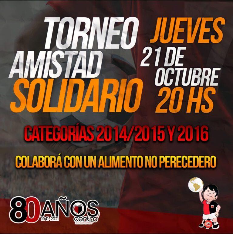 Este jueves 21, se juega el «Amistad Solidario»